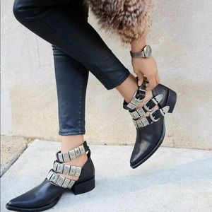 Jeffrey Campbell Western Etched Buckle Booties